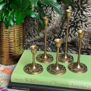 Set of 5 vintage brass candlesticks candle holders